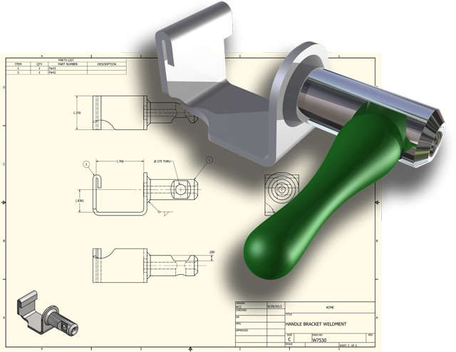 RCC CAD Rendering over Technical Drawing